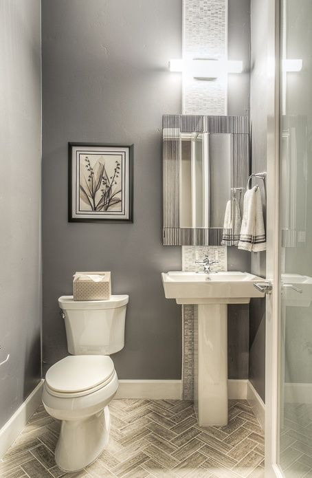 Modern Powder Room With Pedestal Sink, Bliss Iceland Stone And Glass Square  Mosaic Tiles, Toto Pedestal Lavatory