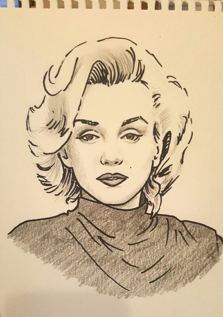 Quick drawing: Marilyn Monroe by StarGazerSquirrel / This image first pinned to Marilyn Monroe art board here: https://www.pinterest.com/fairbanksgrafix/marilyn-monroe-art/ #Art #MarilynMonroe