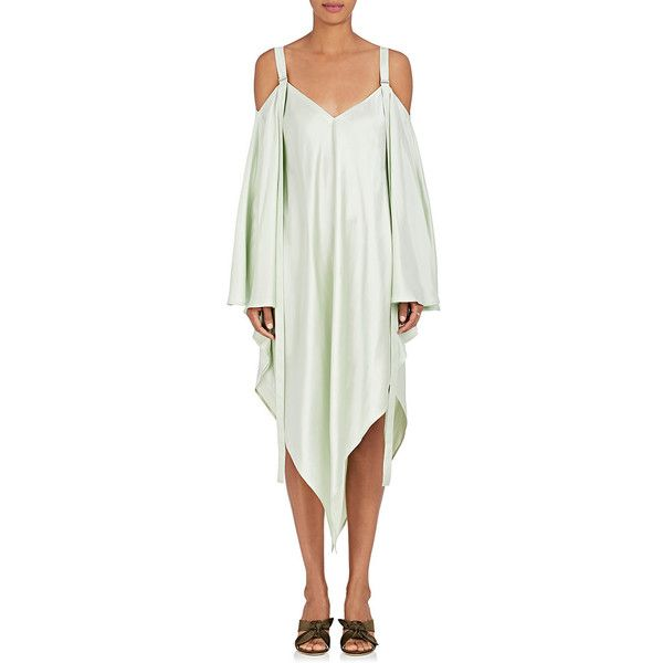 Sies Marjan Women's Phoebe Satin Off-The-Shoulder Dress ($990) ❤ liked on Polyvore featuring dresses, green, satin v neck dress, wetlook dress, v-neck dresses, green satin dress and white off the shoulder dress