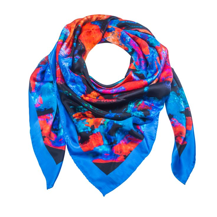 Indus Neo 4 - Blue Silk Scarf - Neo Collection – Silk and Stone