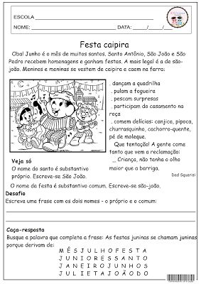 Interpretação; data; Festa junina