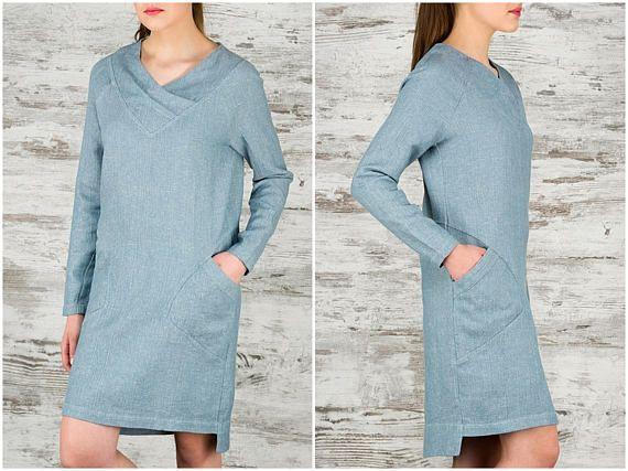 Linen Tunic Dress - Blue Linen Mini Dress with Pockets - Pure Linen Women's Clothing - Flax Clothes - V-Neck Long Sleeves Brick Red Linen Dresses