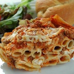 """Baked Ziti I   """"My family and I loved it! It's a quick and easy dish that feeds a lot of people. When you follow the exact instructions it turns out amazing and I'll definitely be making it again. When you add a side of crescent rolls it makes for and extravagant dish!'"""