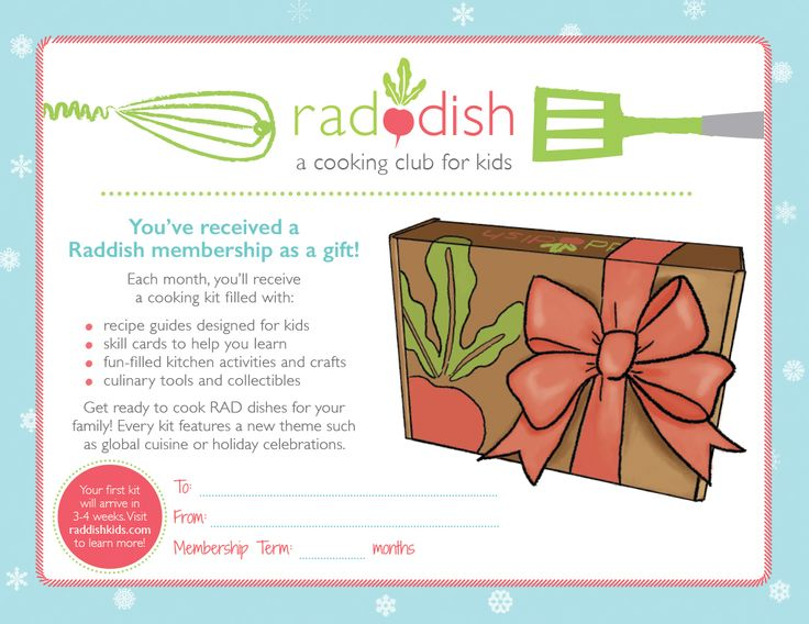 Raddish makes a great last minute gift! Join today & give a holiday gift note, first kit ships in January! #EdibleEducation