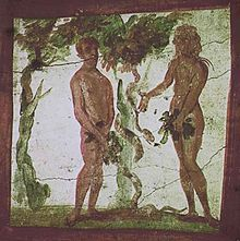 Adam and Eve, catacombs of Saints Marcellinus and Peter - The scene is on the vault of a cubicle in the catacombs.  Date: First half the fourth century  Location: Rome, Itally.
