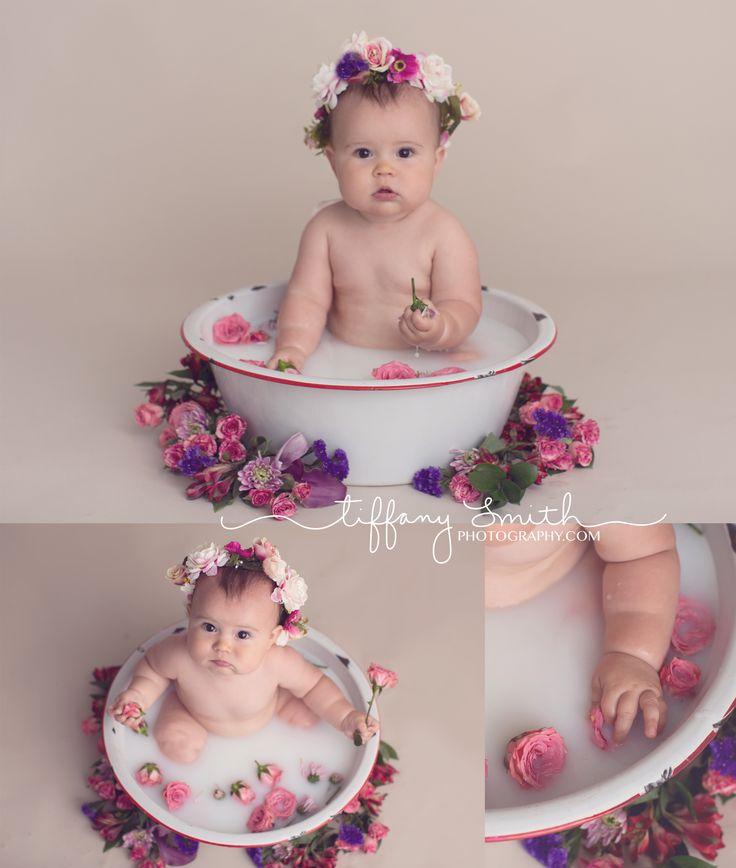 baby milk bath session | milk bath photos with flowers | baby milk bath photos