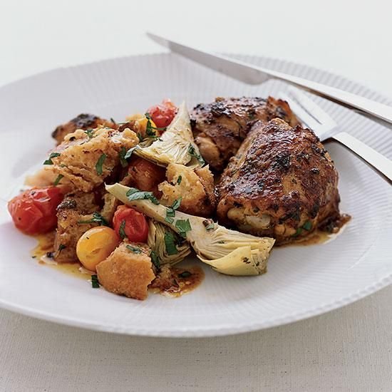 Tangy Roasted Chicken Thighs with Artichoke Panzanella | Panzanella ...