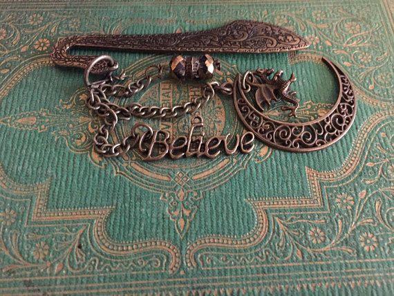 Moon Dragon, Believe in Dragons, Golden Swarovski Crystals on Bronze Antique Style Metal Bookmark