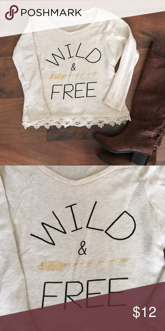 Graphic sweater from the Mint Julep boutique! Wild and Free graphic sweater from the Mint Julep Boutique! Says small but a little on the smaller size. Super cute! New and never worn! Sweaters Crew & Scoop Necks