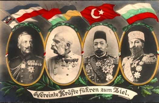 Germany's Kaiser Wilhelm II, Austria's Kaiser and Hungary's King Franz Joseph, the Ottoman Empire's Sultan Mehmed V, Bulgaria's Tsar Ferdinand: The leaders of the Quadruple Alliance. Directly and indirectly responsible for the Greek genocide commencing 1915.