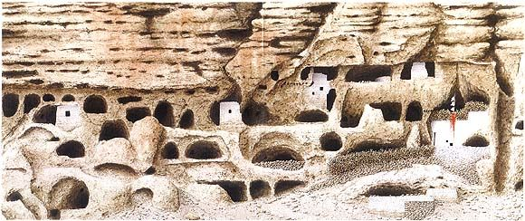 Robert Powell. Caves at Nyiphu 58.5 x 110 Watercolours on paper