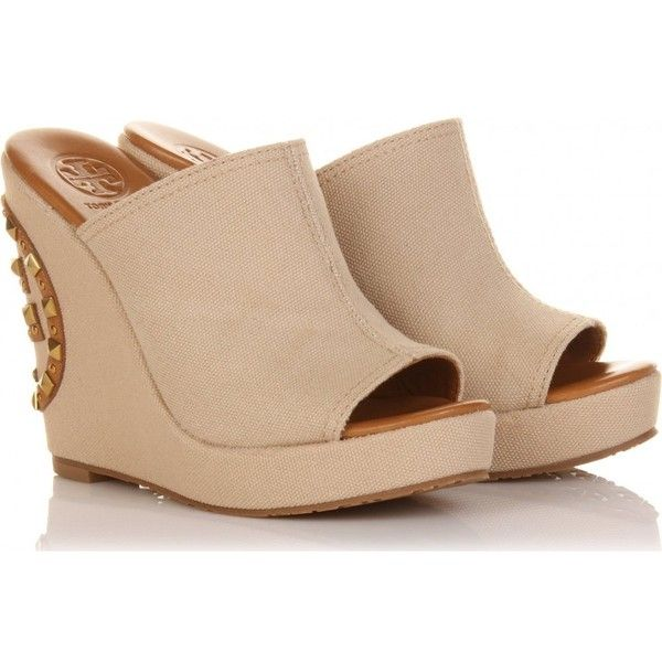 Tory Burch Meredith Canvas Wedges ($139) found on Polyvore