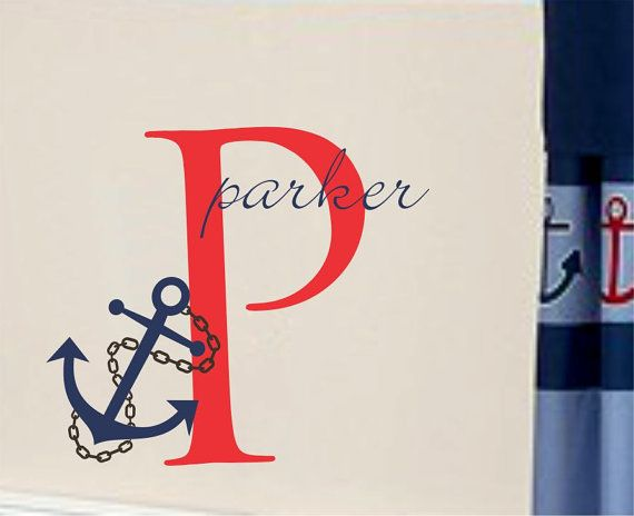 Nautical Name Wall Decal Anchor and Chain with Initial on Etsy, $26.00