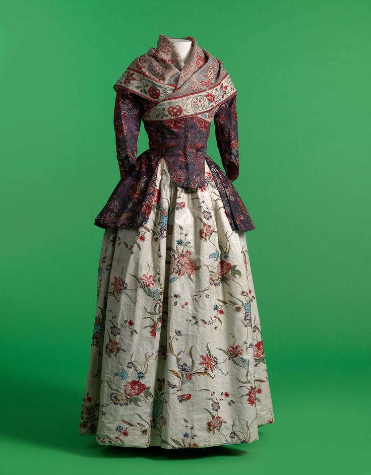 A late 18th century Indian chintz jacket and shawl, paired with a European skirt…