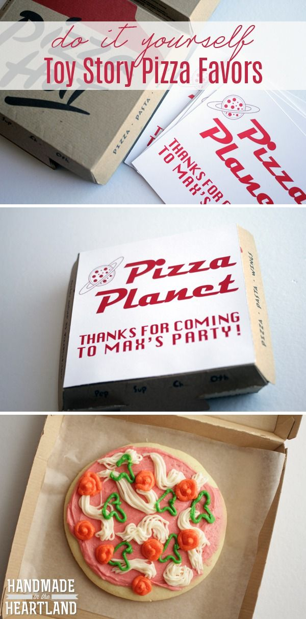 Toy Story Pizza Planet Pizza Sugar Cookie Party Favors, free printable download and tips on how to make these adorable cookies! www.handmadeintheheartland.com