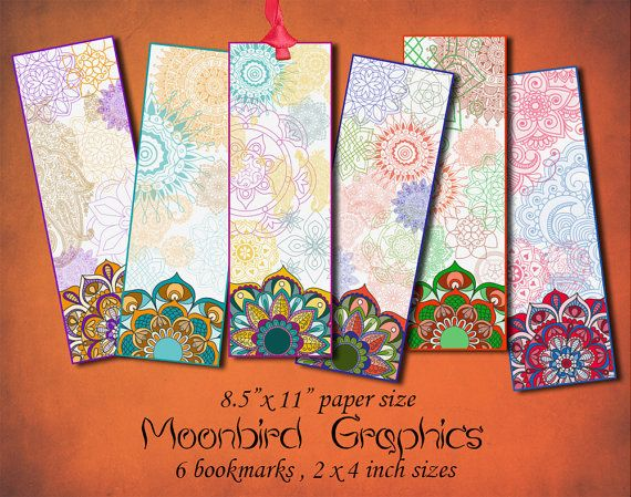 MANDALA BOOKMARKS -  Digital Collage Sheet – 2 x 4 inch size   – Printable Instant Download for your craft