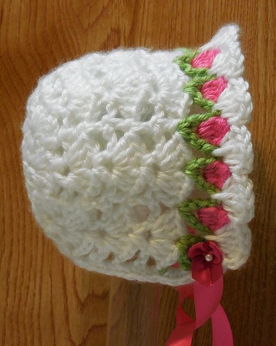 PDF CROCHET PATTERN Tulip Baby Bonnet 0-9 months sizes