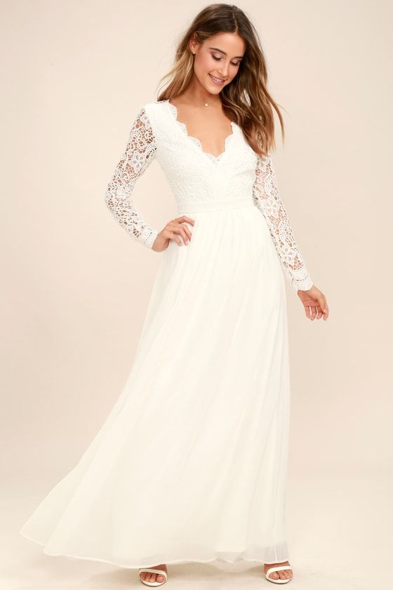 6d3af13bcd Open your eyes to a world of beautiful possibilities in the Awaken My Love White  Long Sleeve Lace Maxi Dress! Crocheted lace elegantly graces the fitted ...