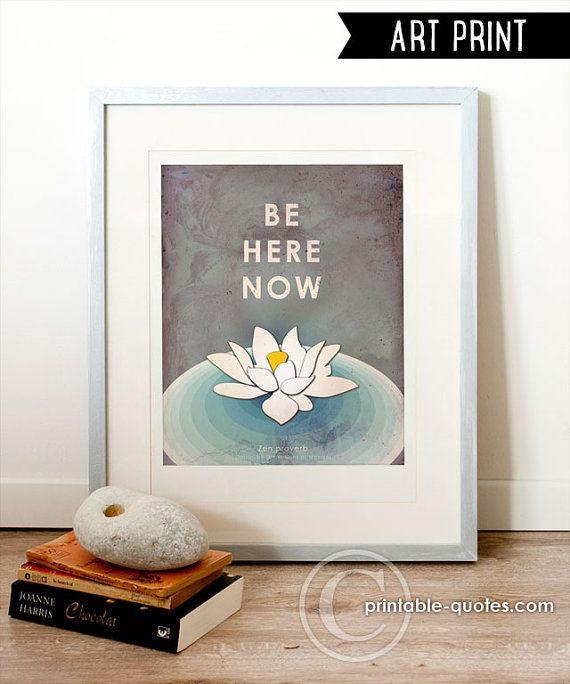 Be Here Now Zen art print, meditation art, lotus flower print, typography  art, meditation poster, zen decor, mindfulness, yoga studio decor