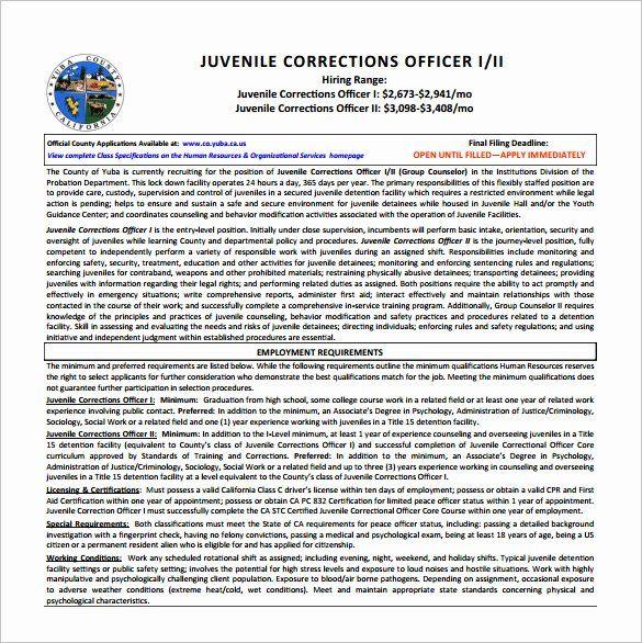 Correctional Officer Duties Resume Fresh Perfect Correctional Ficer Job Description Samplebusiness In 2020 Job Resume Samples Correctional Officer Good Resume Examples