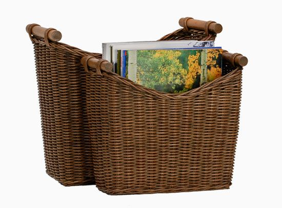 Narrow Magazine Basket in Antique Walnut Brown for family room shelf