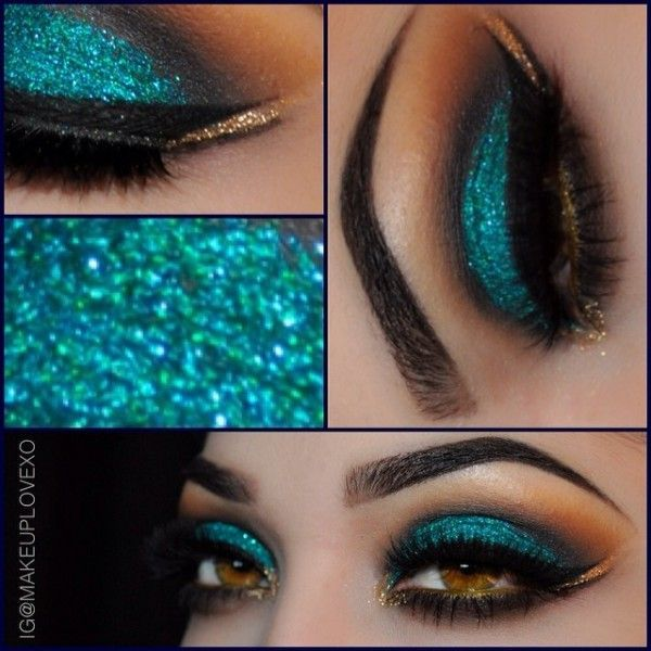 Glittery Teal & Gold Arabic Eyes by Jackie G. #arabiceyes #glitter #eyeshadow #goldeyeshadows