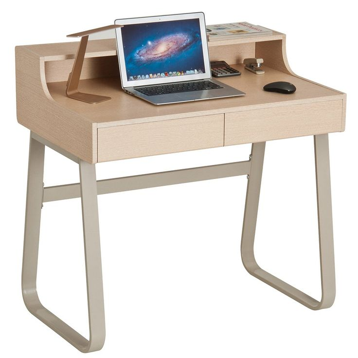 ProHT Small Office Computer Writing Desk with Two Drawers. Compact Writing/PC/Laptop/Study/Drawing/Table/Workstation Small Computer Table, CARB Certified.(White Oak & Ivory 05020A)