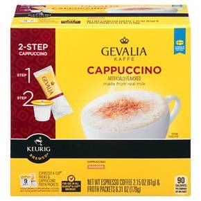Bring your love of foam home with GEVALIA Kaffe Cappuccino - an exquisite café-style beverage for use in your Keurig® K-Cup® brewer. It's easy - just combine our rich, never bitter Espresso Roast Coffee with our unique Cappuccino froth, made from real milk. One taste of this smooth, mildly sweet specialty coffee with subtle roasted notes and you'll never step foot in a café again.