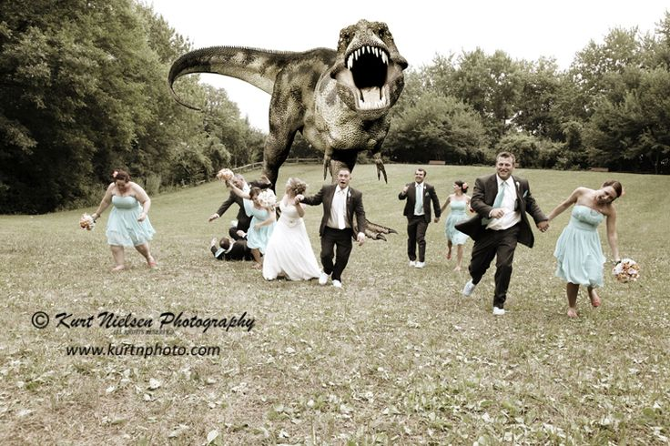 #WeddingPhotos don't have to be dull and boring!  We had so much #fun shooting this at Pierson Park with @jonessarae22 @khart0110 @killakarena and all of the others!  All it took was a fun wedding party, a toy and imagination!  Of course it was based on the dinosaur wedding photo that went viral a while back, but we added our own touches! @mymetroparks  #FunnyWeddingPhotos #WeddingWednesday #Wedding #WeddingPhotos #ToledoWeddingPhotography  www.kurtnphoto.com