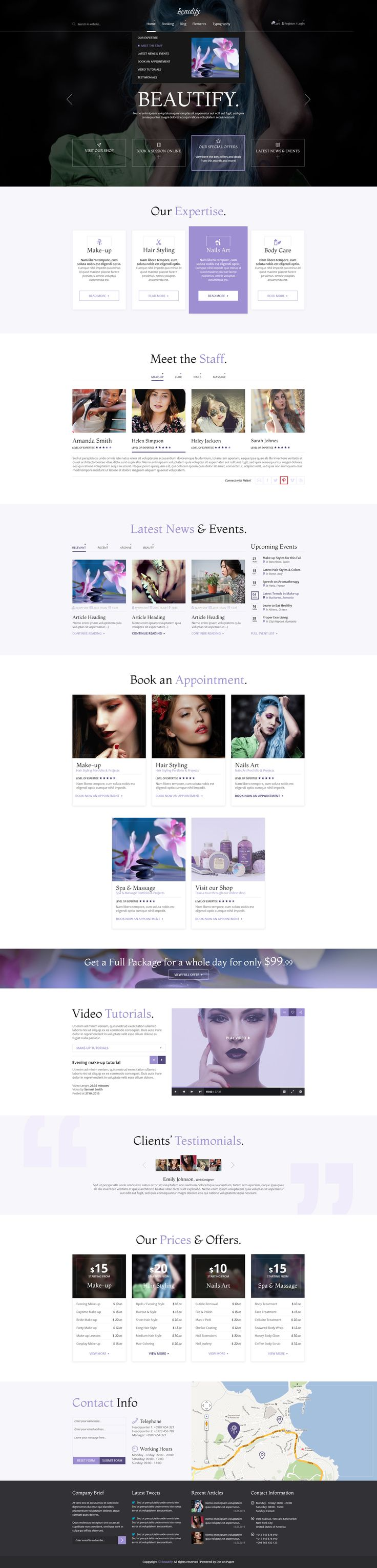 Beautify is a new, clean and modern multi-purpose online booking template. It is ideal for beauty salons, spa centres, cosmetics shops or any kind of beauty expert who needs to organise their time and appointments. It is fully layered, pixel perfect and very easy to customise. It contains 32 PSD files, for all devices (desktop, tablet and mobile phone).