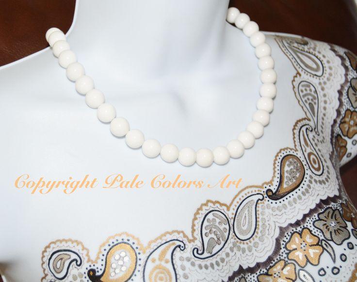 """21"""" Large Stone White Necklace,Mountain Jade Necklace,Neutral Necklace,12mm Necklace,Half Inch Stone Necklace,White Necklace,Brides Necklace"""
