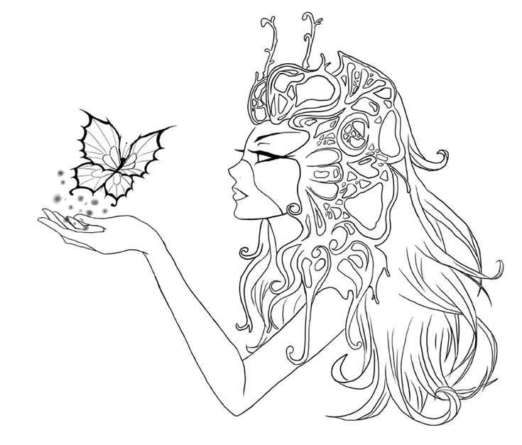 Butterfly by cute elf deviantart adult colouring fairies angels pinterest coloring - Manga coloriage elfe ...