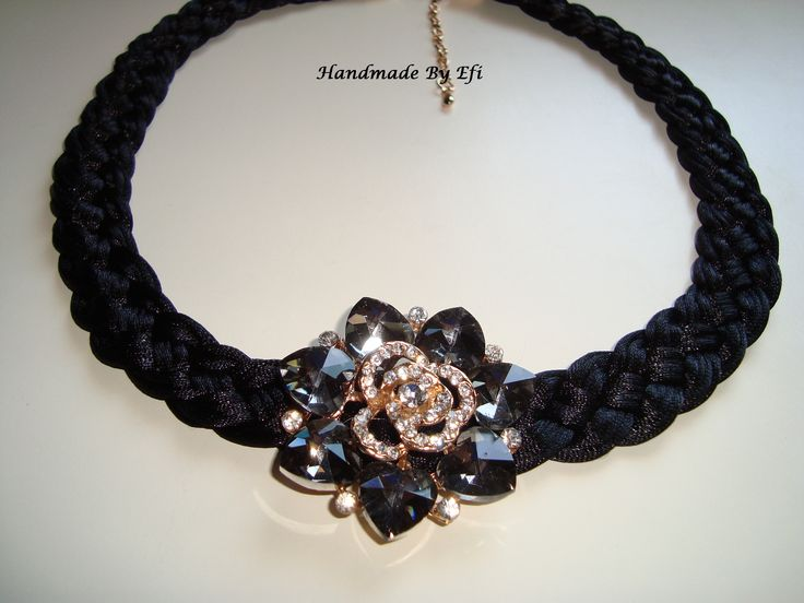 Short necklace of black silk cord hand braided with glass rhinestones flower  https://www.facebook.com/pages/Handmade-Creations-by-Efi/187659788043676