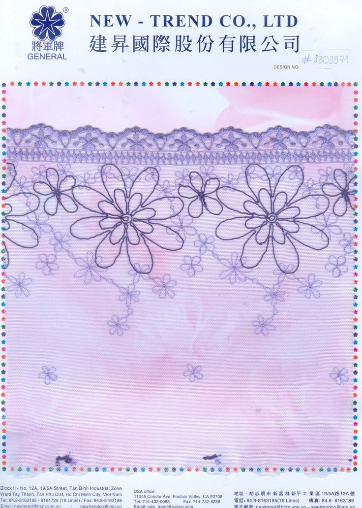 # 8303971 New-Trend Co., Ltd. Lace & Embroidery with the Vietnamese touch