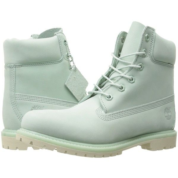 Timberland 6 Premium Boot (Light Green Nubuck) Women's Lace-up Boots ($170) ❤ liked on Polyvore featuring shoes, boots, ankle boots, lace up bootie, bootie boots, wide width boots, short heel boots and waterproof ankle boots