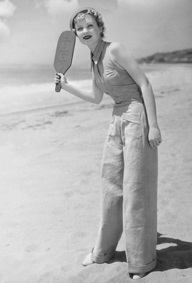 vintage beach frauen