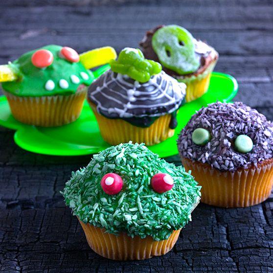 Halloweenmuffins - http://www.dansukker.no/no/oppskrifter/halloweenmuffins-no.aspx #oppskrift #kake #muffins #halloween