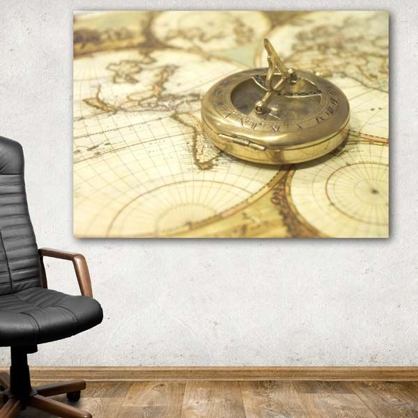 Πυξίδα & χάρτης πίνακας σε καμβά