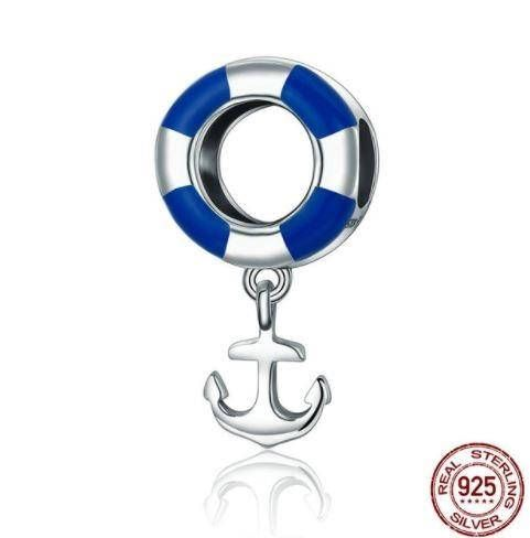 925 Sterling Silver Ocean Journey Lifebuoy Navy Anchor Charm fit Pandora Bracelet Charm First Anniversary Gift for Her, Pandora Beads