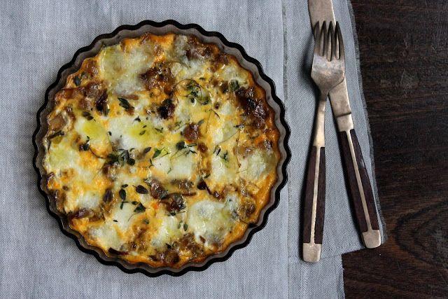caramelized shallot and thyme frittata topped with buffalo mozzarella
