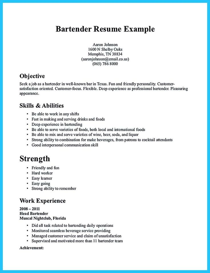 nice Impressive Bartender Resume Sample That Brings You to a Bartender Job, Check more at http://snefci.org/impressive-bartender-resume-sample-that-brings-you-to-a-bartender-job