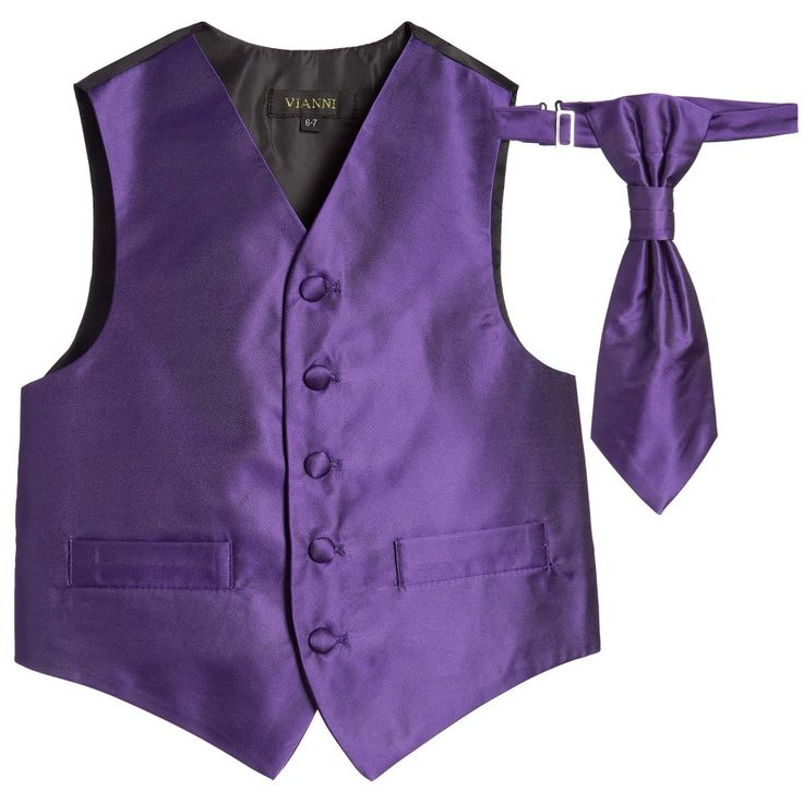 Romano Vianni - Boys Dark Purple Waistcoat & Adjustable Tie Set | Childrensalon