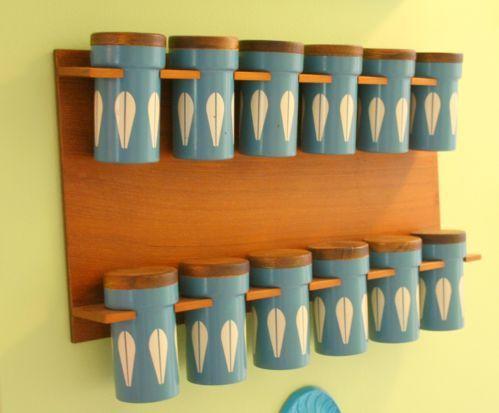 Blue Cathrineholm Lotus Spice Rack Teak w/ 12 Containers Enamelware Mid Century