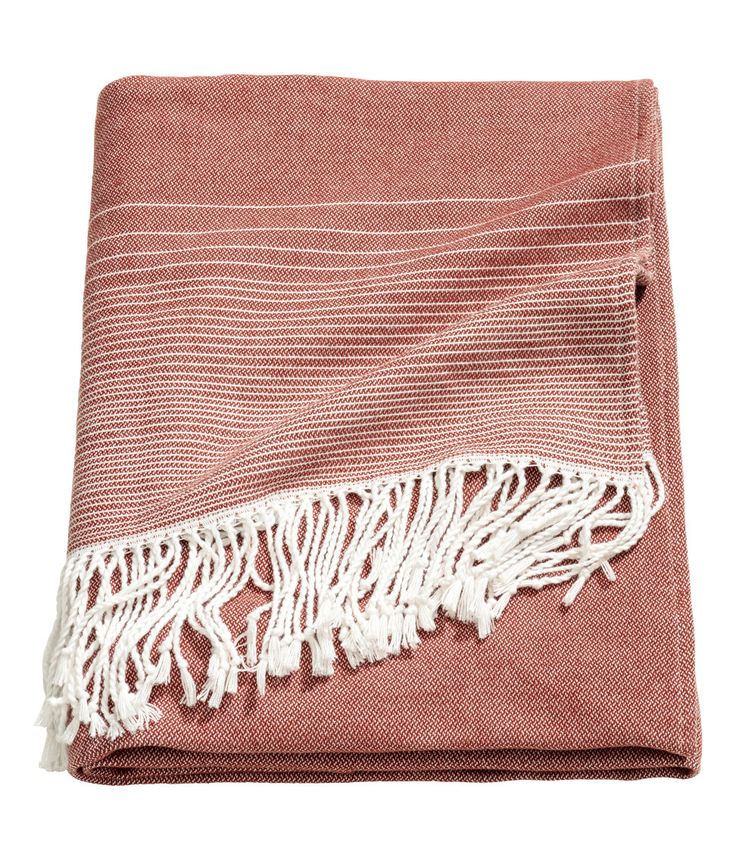 Check this out! Throw in cotton-blend fabric with woven stripes. Fringe on short sides. - Visit hm.com to see more.