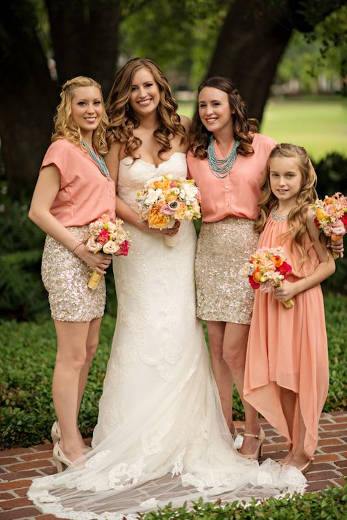 Some of the best bridesmaid attire I've seen! coral, gold, and grey wedding at Casa Feliz in Florida, photos by Kristen Weaver Photography | via junebugweddings.com