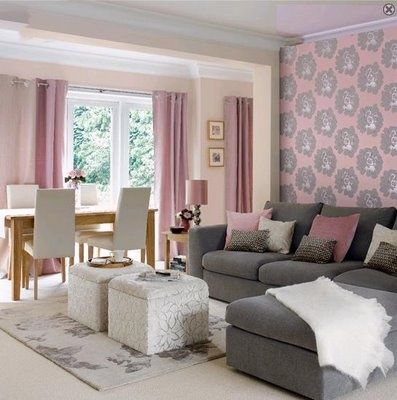 Rosa y gris en decoración, hermosa combinación de colores