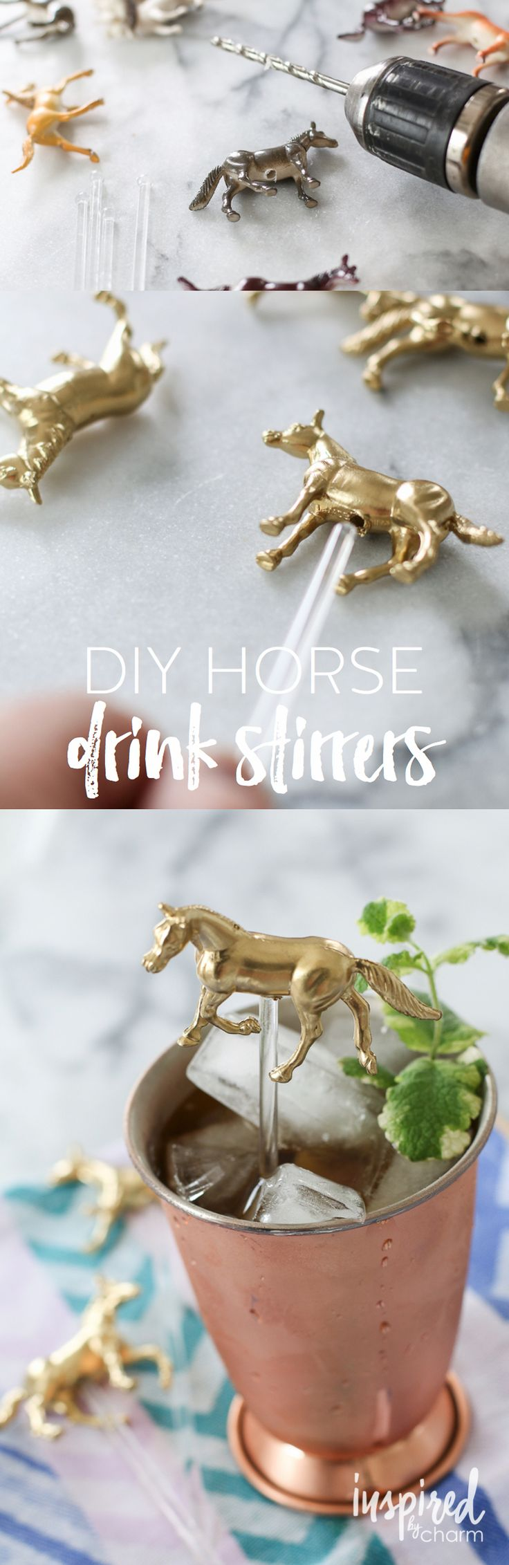 DIY Horse Drink Stirrers - perfect for the Kentucky Derby, but fun for any celebration.