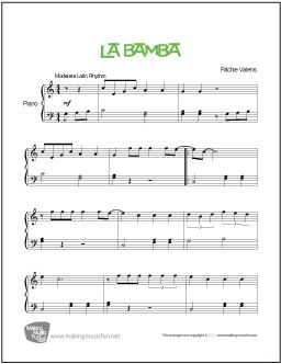 La Bamba (Richie Valens) - Easy Piano Sheet Music (Digital Print) - Visit MakingMusicFun.net for free sheet music, music theory worksheets, and composer resources.