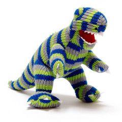 Soft Toy . Fairtrade Hand-Knitted T-Rex - Stripey