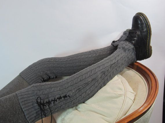 Thigh High Leg Warmers Over Knee Socks Gray Knit by Vacationhouse, $42.00